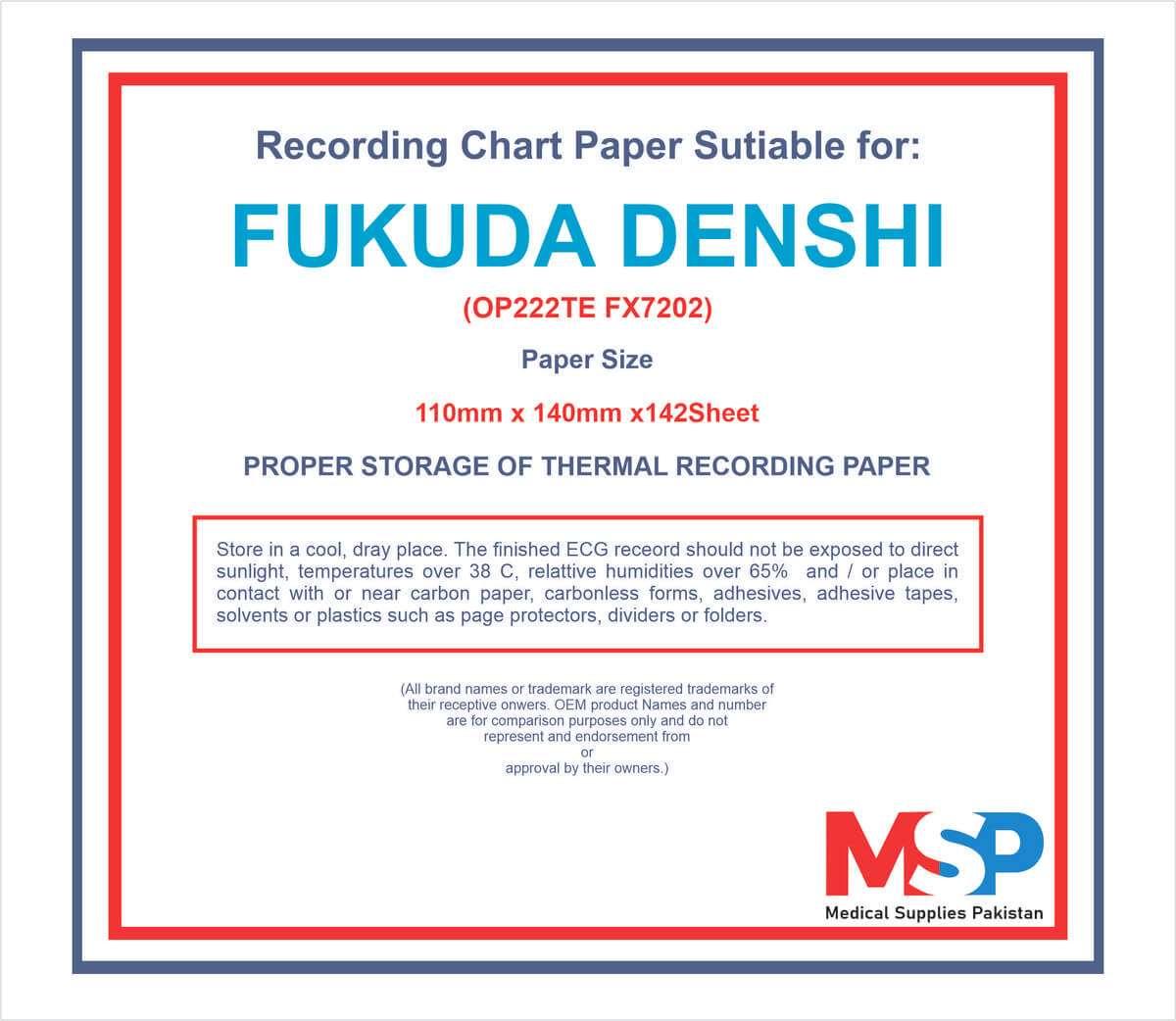 ECG Paper OPT 222TE Fukuda Denshi in Pakistan